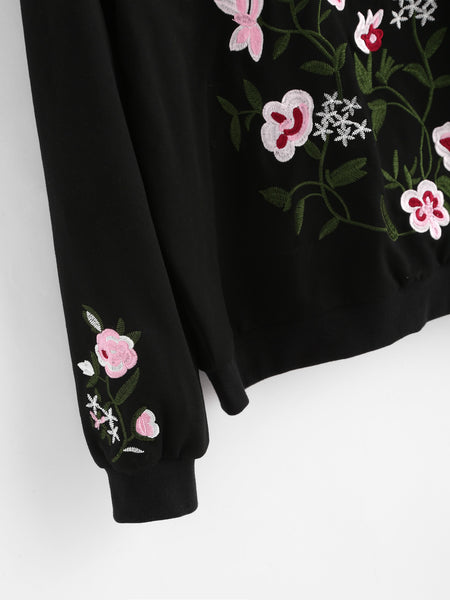 Black Drop Shoulder Pullover With Embroidered Flower Blossom