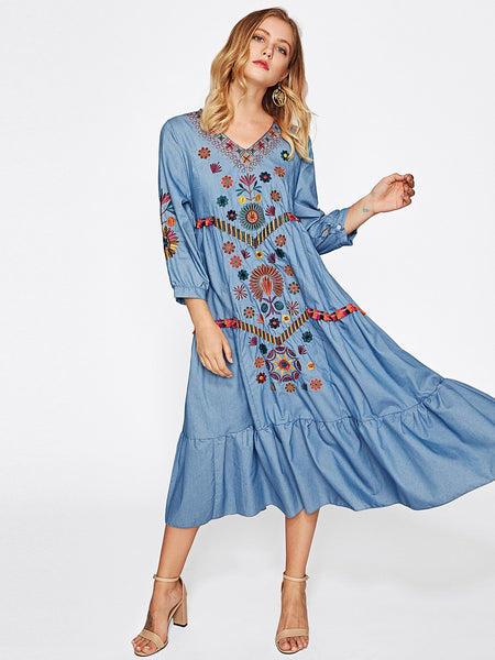 Blue Denim V-Neck Random Embroidered Print Frill Hem Dress