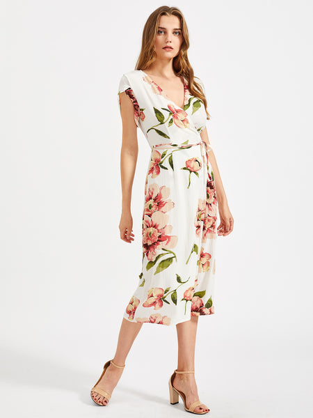 03bc1685473 White Floral Print Wrap Self-Tie Midi Dress
