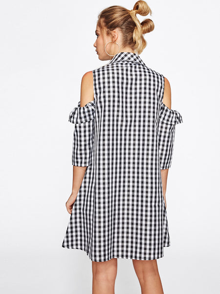 Black Open Shoulder Button Front Frill Trim Checkered Dress