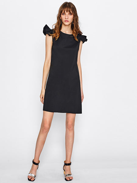 Black Round Neck Frill Capped Sleeve A-Line Dress