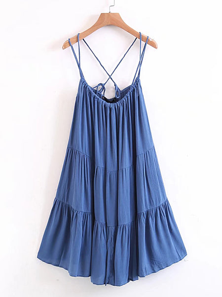Blue Tiered Criss Cross Strappy Dress