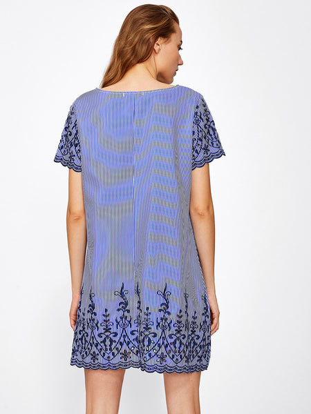 Blue Pinstripe Scallop Embroidered A-Line Dress