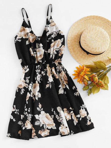 Black Floral Print Elastic Waist Adjustable Strap Cami Dress