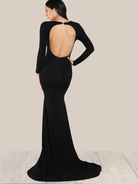 Black Round Neck Long Sleeve Fitted Fishtail Dress