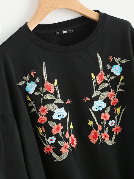 Black Puff Sleeve Drop Shoulder With Botanical Embroidery Sweatshirt