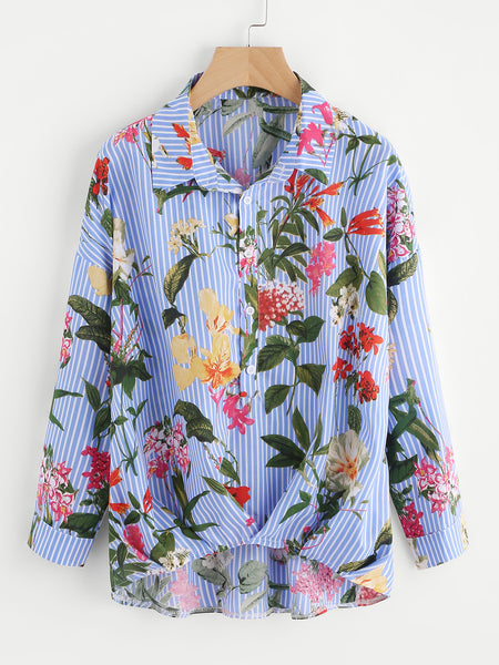 Blue Mixed Print Long Sleeve Gathered Hem Shirt