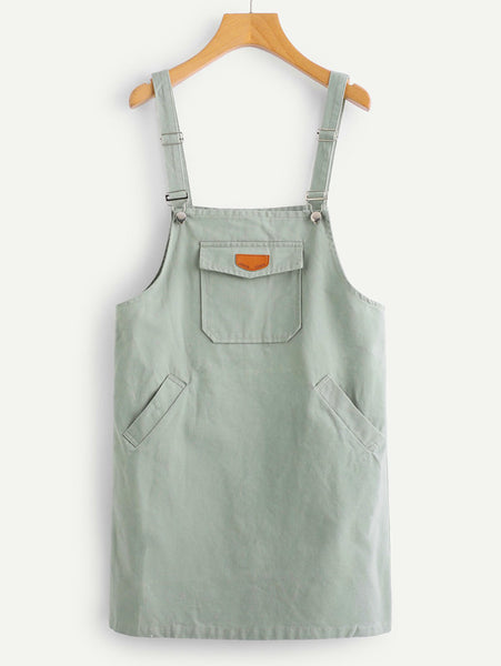 Grey Front Patch Pocket Spaghetti Straps Sleeveless Pinafore Mini Dress