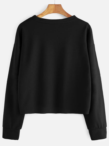 Black Raw Hem Drop Shoulder Embroidered Sweatshirt