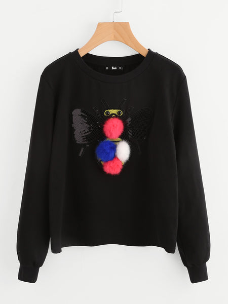 Black Sweatshirt With Detailed Sequin Bee And Pom Pom