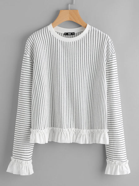 Black and White Pinstripe Frill Trim Sweatshirt