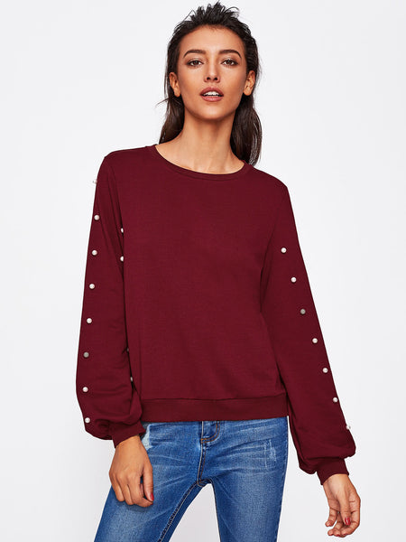 Burgundy Round Neck Pearl Beading Long Sleeve Sweatshirt
