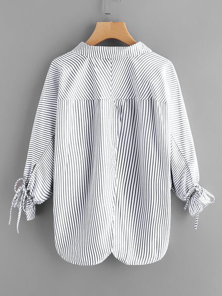 Black and White V-Neck Drawstring Lantern Sleeve Blouse