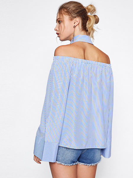 Blue Pinstripe Collared Halter Front Pockets Kimono Sleeve Blouse