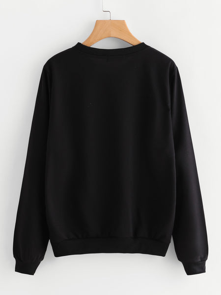 Black Sweatshirt With Printed Graphic