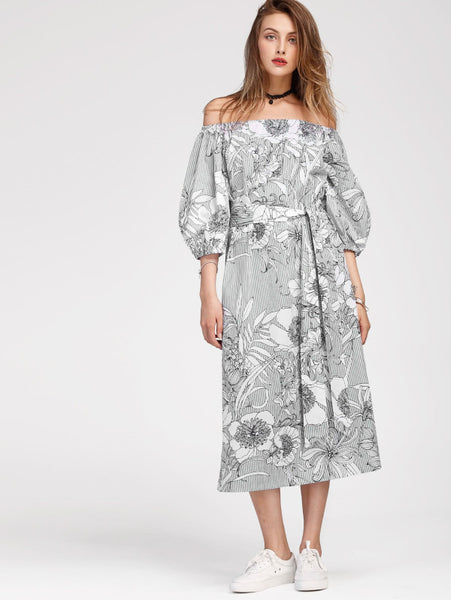 Black And White Floral Print Allover Vertical Striped Off Shoulder Belted Half Bishop Sleeve Bardot Maxi Dress