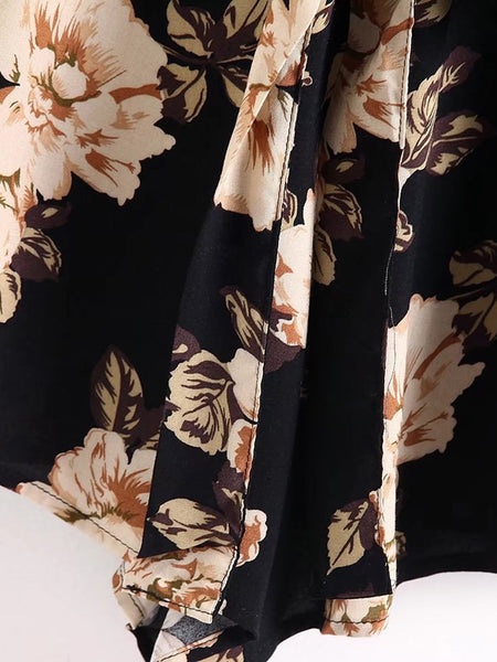 Black Overall Floral Print Deep V-Neck Bell Cuff 3/4 Sleeve Tie Waist Playsuits