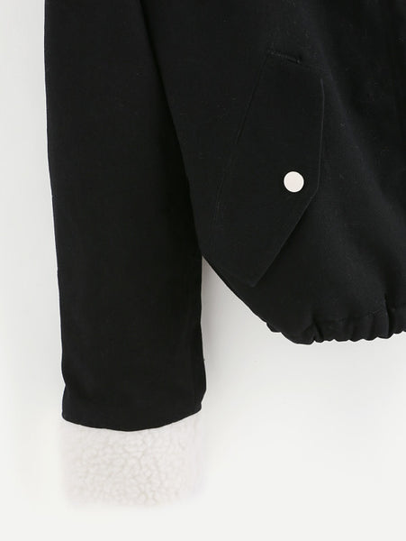Black Jacket Fleece Lined With Faux Trim Hood