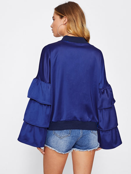 Blue Tiered Bell Sleeve Zip Up Bomber Jacket