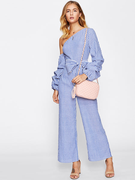 Blue Overall Vertical Striped Asymmetric Shoulder Gathered Long Sleeve Bow Waist Wide Leg Jumpsuit