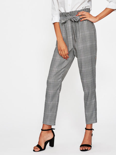 Black and White High Waist Plaid Self Belt Peg Pants