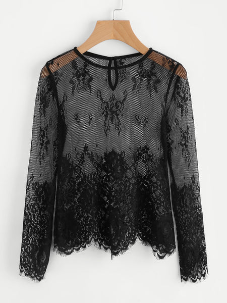 Black Long Sleeve Eyelash Lace Buttoned Keyhole Back Top