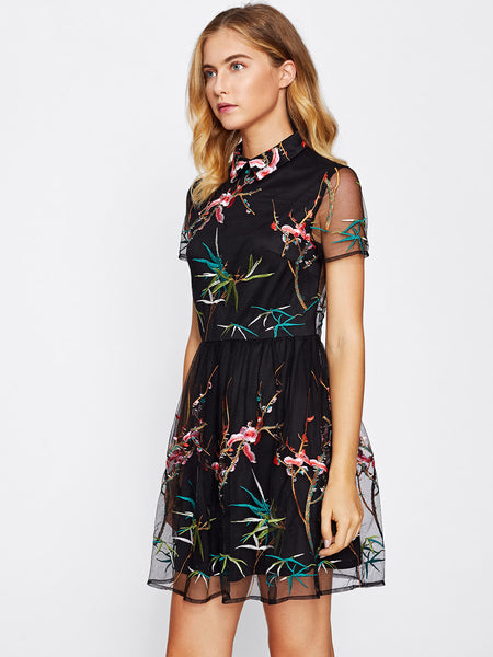 Black Random Print Close Neck Overlay Mesh Flared Dress