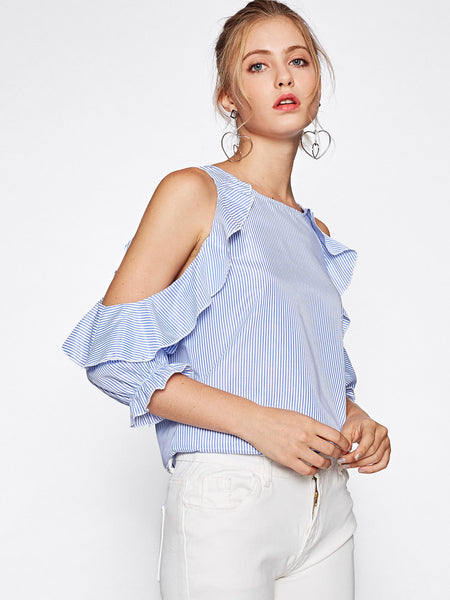 Blue Vertical Pinstriped Cold Shoulder Frill Trim Top