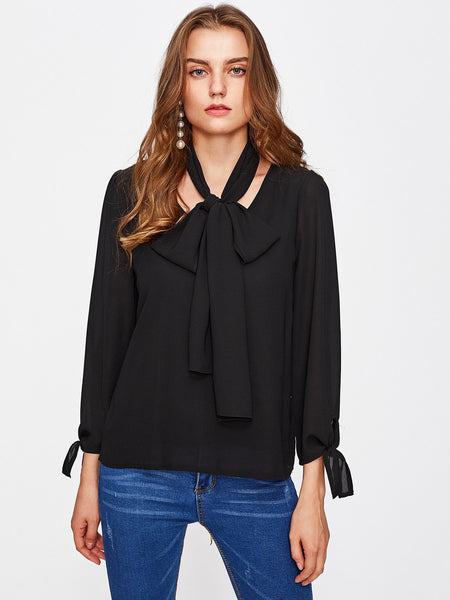 Black V-Neck Long Sleeve Tie Cuff With Necktie Top