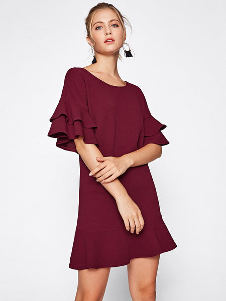 Burgundy Tiered Flute Sleeve Frill Hem Mini Dress