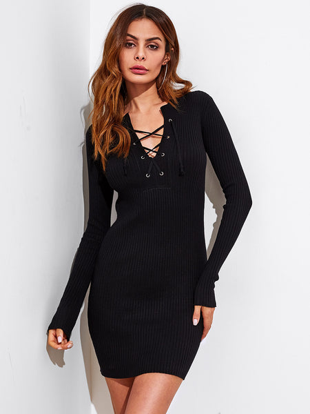 9f90932b86 Black V-Neck Eyelet Lace Up Long Sleeve Ribbed Bodycon Dress – Lyfie