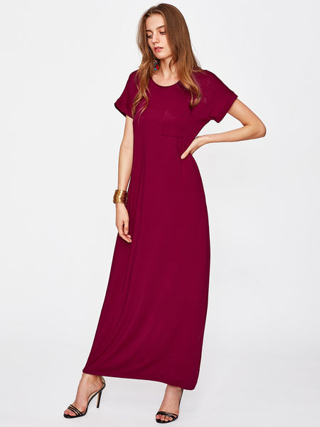 Burgundy Round Neck Short Sleeve Chest Pocket Maxi Dress