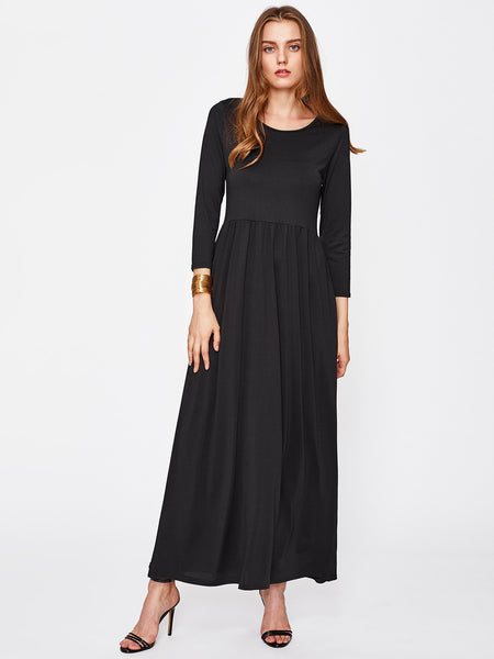 Black Round Neck Long Sleeve Crinkle Maxi Dress