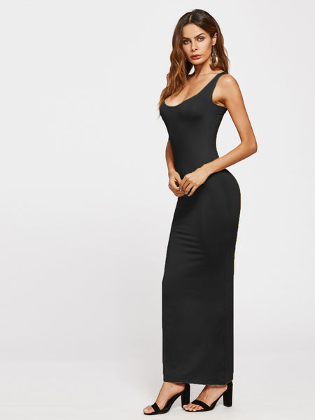 Black Sleeveless Scoop Neck Tank Maxi Dress