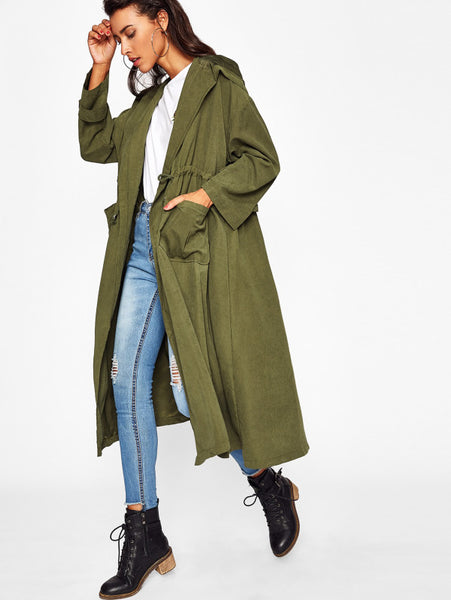 Army Green Hooded Shawl Collar Drawstring Long Coat