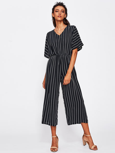 Black Vertical Striped V-Neck Half Sleeve Overlap Tie Back Wide Leg Jumpsuit