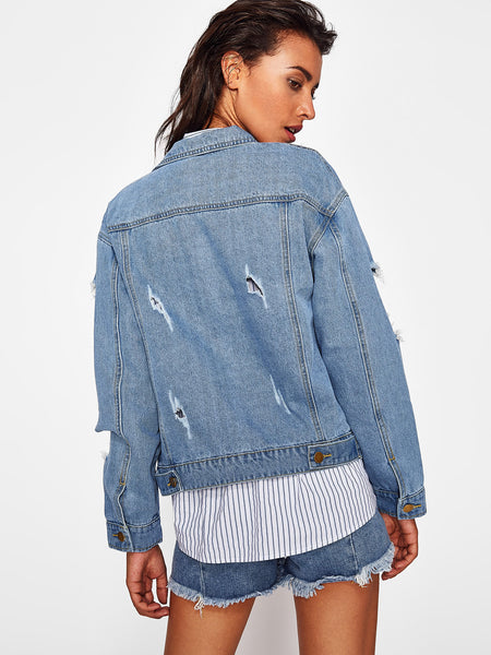 Blue Denim Distressed Boyfriend Jacket