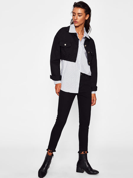 Black Crop Flap Pocket Front Denim Jacket