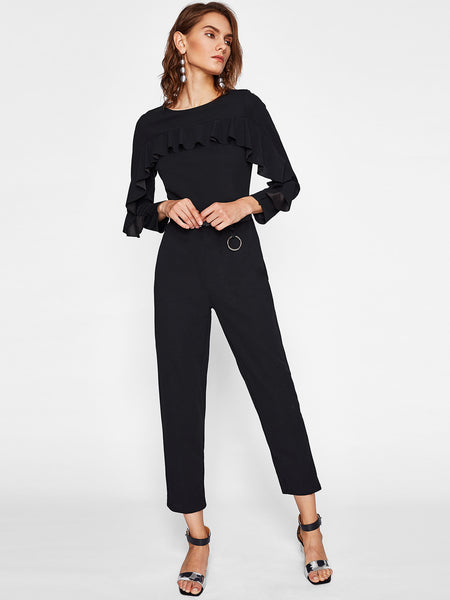 201b7b26a8 Plain Black Frill Trim Chest To Arms Round Neck Long Sleeve Tailored With  Belt Jumpsuit