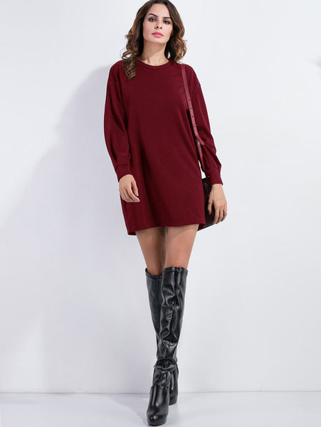 Burgundy Drop Shoulder Long Sleeve Sweatshirt Dress