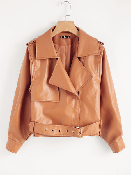 Brown Moto Gun Flap Detail Jacket With Belted Hem
