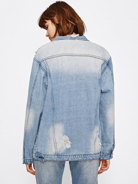 Blue Pearl Beading Buttoned Bleached Denim Jacket