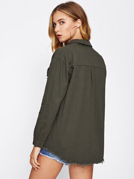Green Frayed Curved Hem Front Button Denim Jacket