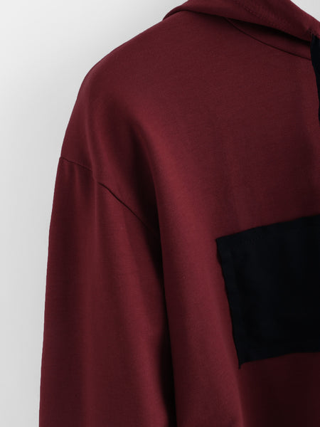 Burgundy Patch Detail Crop Hoodie