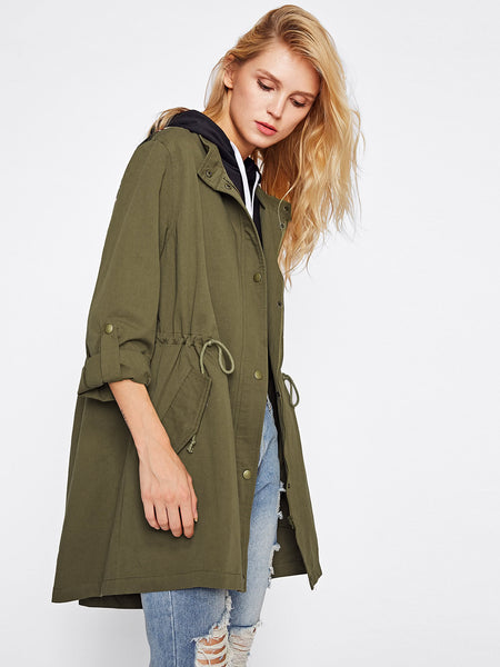 Green Drawstring Waist Utility Tribal Jacquard Patch Jacket