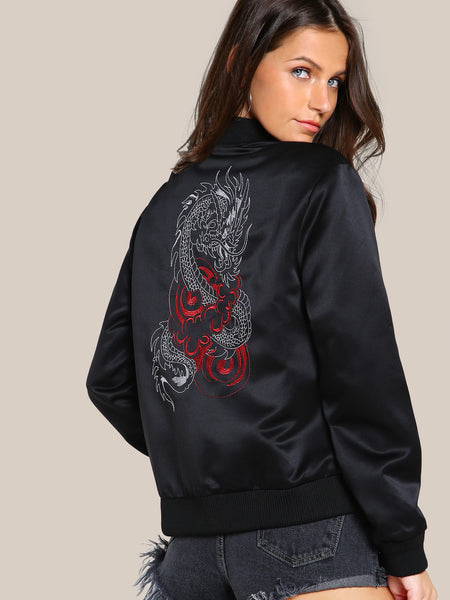 Black Dragon Embroidered Zip Up Jacket