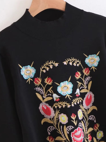 Black Floral Embroidered Drawstring High Neck Sweater