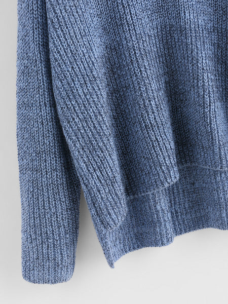 Blue Turtle Neck Dip Hem Loose Sweater