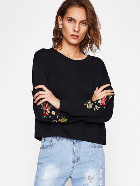 Black Drop Shoulder Floral Embroidered Sweatshirt