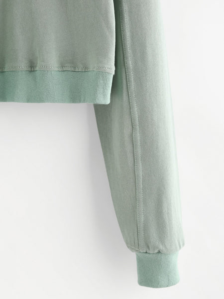 Green Drop Shoulder Ribbed Hem Hoodie